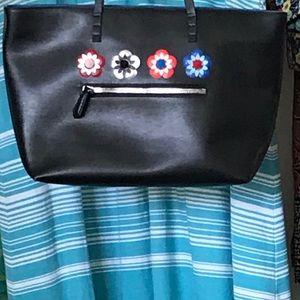 Fendi black floral large shoulder bag